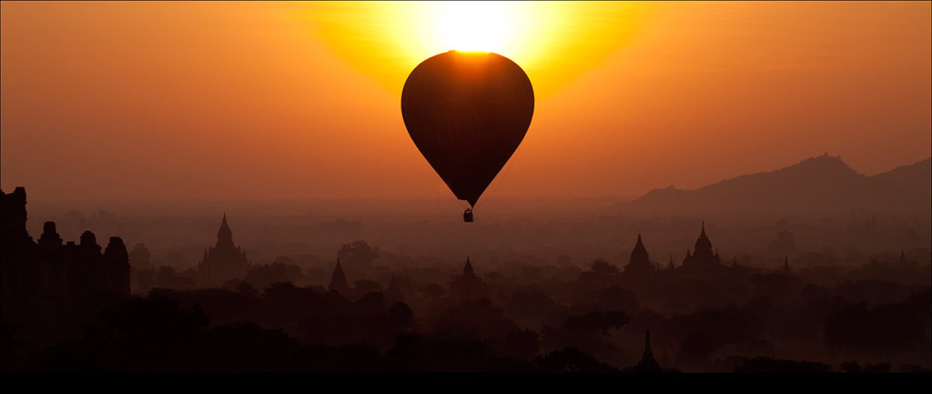 Hot air balloon over the temples of Bagan, Burma